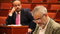 Els líders del PP, Alejandro Fernández –al fons–, i de Cs, Carlos Carrizosa, durant una sessió del Parlament