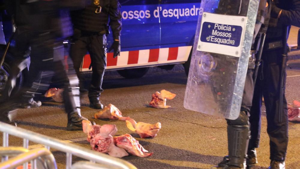 Caps de porc llançats al cordó dels Mossos que protegia la Delegació del Govern espanyol a Barcelona