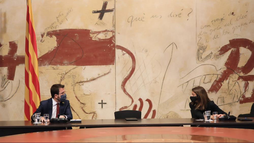La cadira buida de Quim Torra al consell executiu extraordinari amb Pere Aragonès i Meritxell Budó