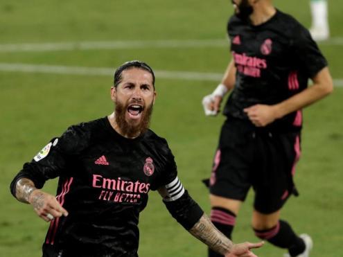 Ramos celebra el gol de la sentència