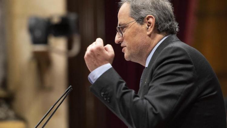 El president de la Generalitat, Quim Torra, la setmana passada al Parlament