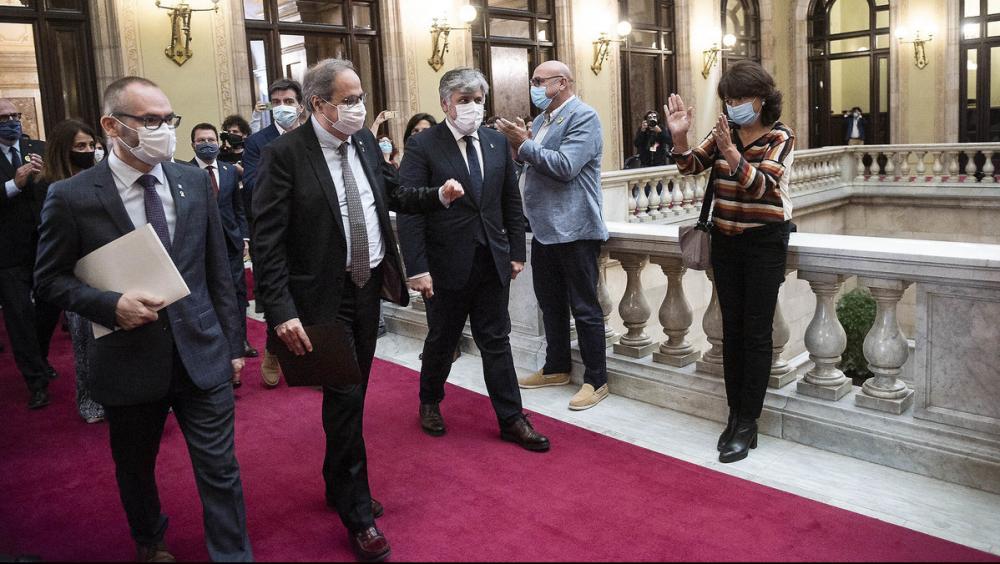 El 131è president de la Generalitat , Quim Torra, marxa del Parlament després de la seva intervenció de comiat