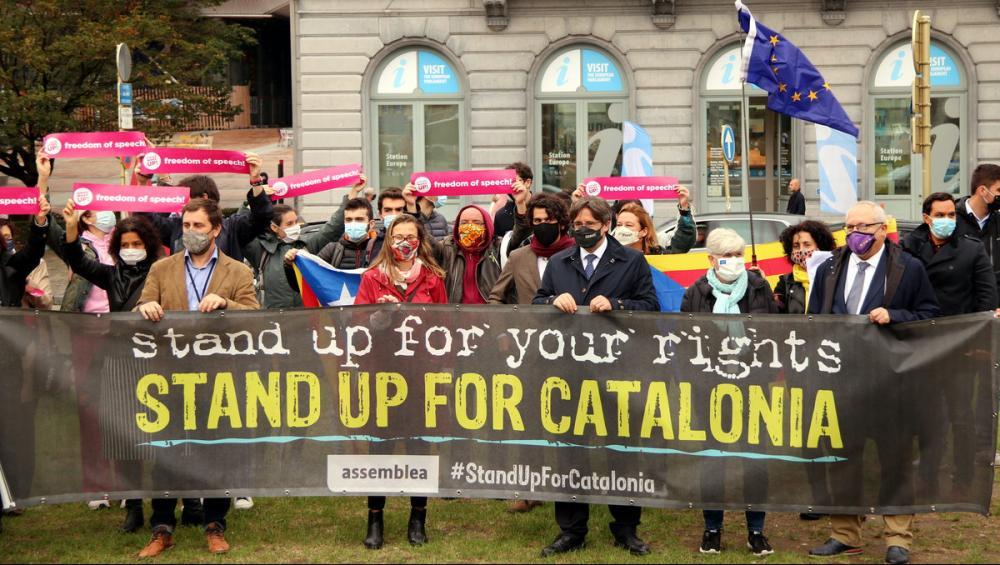 Puigdemont a l'acte organitzat per l'ANC davant l'Eurocambra