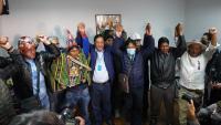 Luis Arce del MAS celebrant la victòria