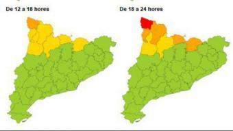 Activada l'alerta per fort vent al nord-oest de Catalunya
