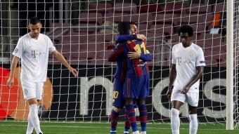 Dembélé i Messi celebren el gol del francès