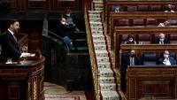 El líder de Vox, Santiago Abascal, al ple de la moció de censura