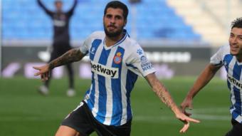 Mérida celebra el gol que obria el marcador.