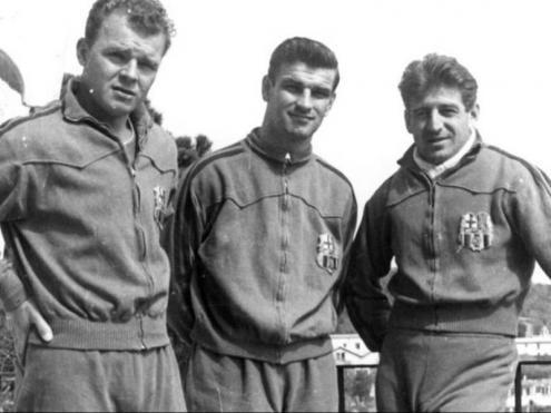 Kubala, Kocsis i Czibor, amb el xandall del Barça