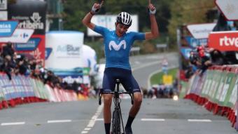 Marc Soler celebra la victòria en l'etapa d'ahir a la Vuelta