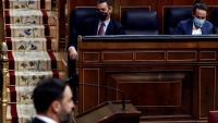 Abascal ahir al Congrés en la presentació de la moció de censura de Vox contra Sánchez