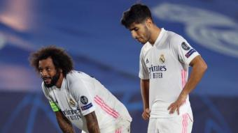 """Marcelo i Asensio, desolats després d'un dels gols del Xakhtar Donetsk<div class=""""formatfinal""""></div>"""