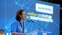 La presidenta de l'Assemblea, Elisenda Paluzie, en la seva intervenció l'última Diada, en què va demanar que els comicis tinguin caràcter plebiscitari
