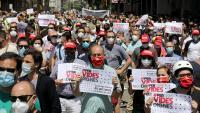 Treballadors en una manifestació organitzada pels sindicats