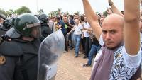 Els antiavalots, l'1-O, al pavelló de la Ràpita