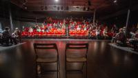 El públic ahir a La Planeta, a l'eliminatòria de l Torneig de Dramatúrgia del festival Temporada Alta, a les 19.30 h, mitja hora abans del que és habitual