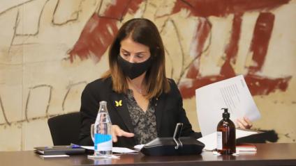 La consellera de la Presidència, Meritxell Budó, durant el consell executiu del Govern