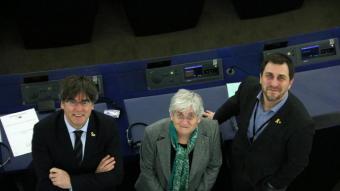 Carles Puigdemont, Clara Ponsatí i Toni Comín al Parlament Europeu