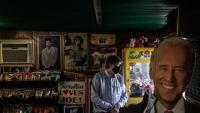 Una botiga amb una imatge de Joe Biden a Scranton (Pennsilvània)
