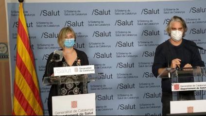 La consellera de Salut, Alba Vergés, i el coordinador de la unitat de seguiment de la Covid-19 a Catalunya, Jacobo Mendioroz, a la roda de premsa d'ahir