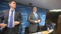 Jaume Guardiola, conseller delegat (esquerra), i Josep Oliu, president del Sabadell, en una imatge d'arxiu