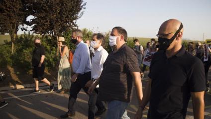 Quim Forn, Jordi Cuixart, Oriol Junqueras i Raül Romeva el juliol passat quan van tornar a la presó