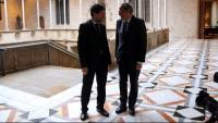 El president de la Generalitat inhabilitat, Quim Torra, i el de la Cambra de Barcelona, Joan Canadell, en una imatge d'arxiu al Palau de la Generalitat