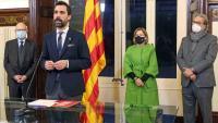 Els presidents Rigol, Torrent, Forcadell i Benach, durant l'acte que es va fer ahir a la tarda al saló d'audiències de la cambra catalana