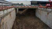 Pla general de les obres del túnel del tren llançadora a l'aeroport del Prat
