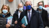 Barnier, amb membres del seu equip negociador, durant  un dels viatges aquest mes a Londres