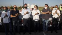 Sis dels presos polítics, en un acte a l'entrada del penal de Lledoners, quan la jutgessa els va suspendre el tercer grau, el 28 de juliol passat