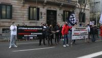 Manifestació ahir de treballadors de l'oci nocturn davant la delegació del govern de l'Estat a Barcelona