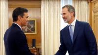 Pedro Sánchez i el rei Felip VI durant la tanda de consultes, el setembre del 2019