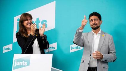 Laura Borràs i Damià Calvet, durant l'acte telemàtic d'ahir en què es van donar a conèixer els resultats de les primàries