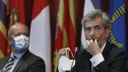 El president del Suprem i del CGPJ, Lesmes, amb el ministre Campo, en l'entrega de despatxos a Barcelona