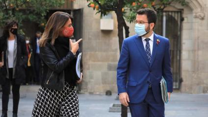 La consellera de la Presidència, Meritxell Budó, i el vicepresident, Pere Aragonès