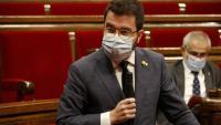 El vicepresident del Govern amb funcions de president, Pere Aragonès, durant la sessió de control al Parlament d'aquest dimecres