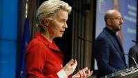 La presidenta de la Comissió Europea, Ursula von der Leyen, durant una roda de premsa