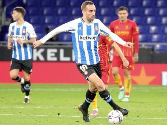 Darder, autor del segon gol, en una acció del partit d'aquesta tarda davant el Saragossa.