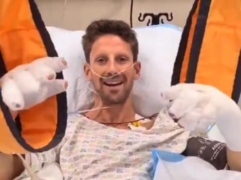 Una imatge del vídeo amb les declaracions de Romain Grosjean des de l'hospital