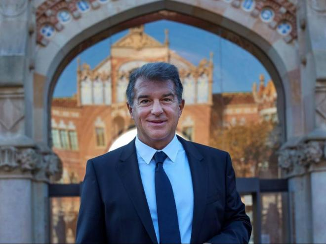 Joan Laporta, ahir, a l'hospital de Sant Pau  de Barcelona