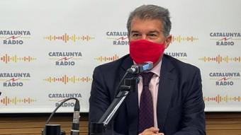 Laporta durant l'entrevista a Catalunya Ràdio
