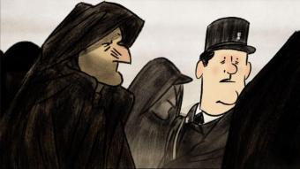 Josep Bartolí i Serge, el gendarme que l'ajuda, en una imatge de 'Josep'