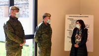 Margarita Robles en un acte en una base militar de Madrid