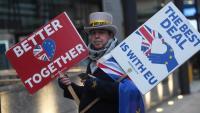 Un home protesta a Londres mentre continuen les negociacions