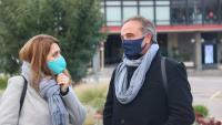 Marta Pascal i Carles Ribas, que ahir va oficialitzar la seva candidatura del PNC per Girona el 14-F