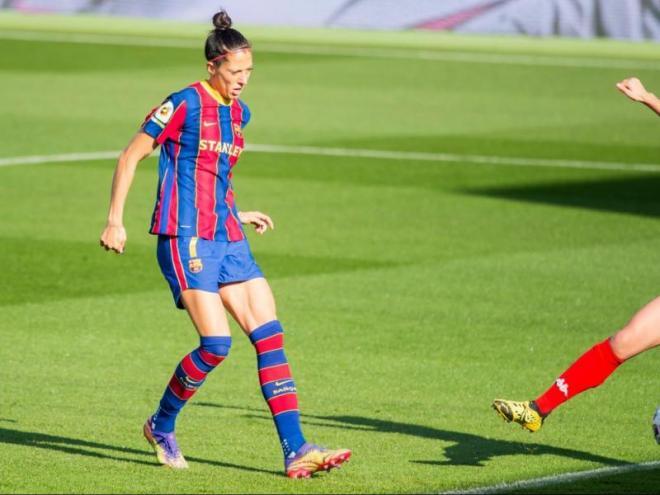 Jennifer Hermoso fent un dels quatre gols contra el Santa Teresa