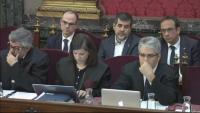 Jordi Turull, Jordi Sànchez i Josep Rull, asseguts darrere dels seus advocats durant el al Suprem, el 26 de març de 2019