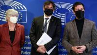 Ponsatí, Puigdemont i Comín abans de la vista pel suplicatori