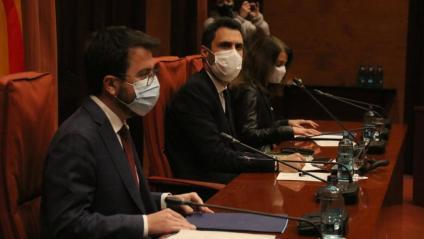 Aragonès, Torrent i Budó a la reunió al Parlament